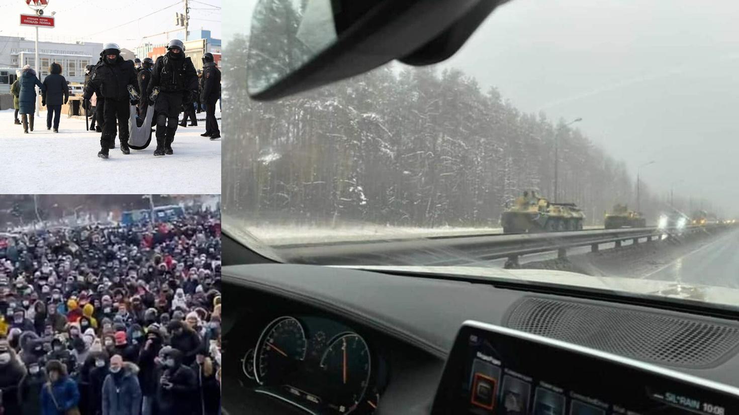 """""""Putin, hoţul"""": Spre Moscova se îndreaptă blindatele armatei! Revolte în Rusia la -52 de grade Celsius, din cauza arestării lui Alexei Navalnîi"""