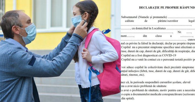 Declarația pe care toți părinții cu copii care se duc la școală trebuie să o completeze