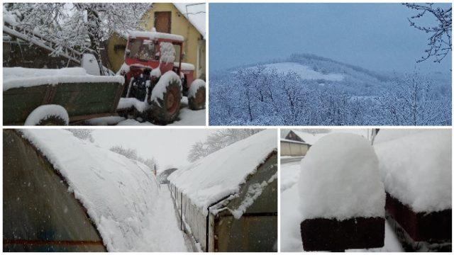 Iarna a revenit în mai multe județe! Imagini cu zăpada de astăzi, 7 aprilie!