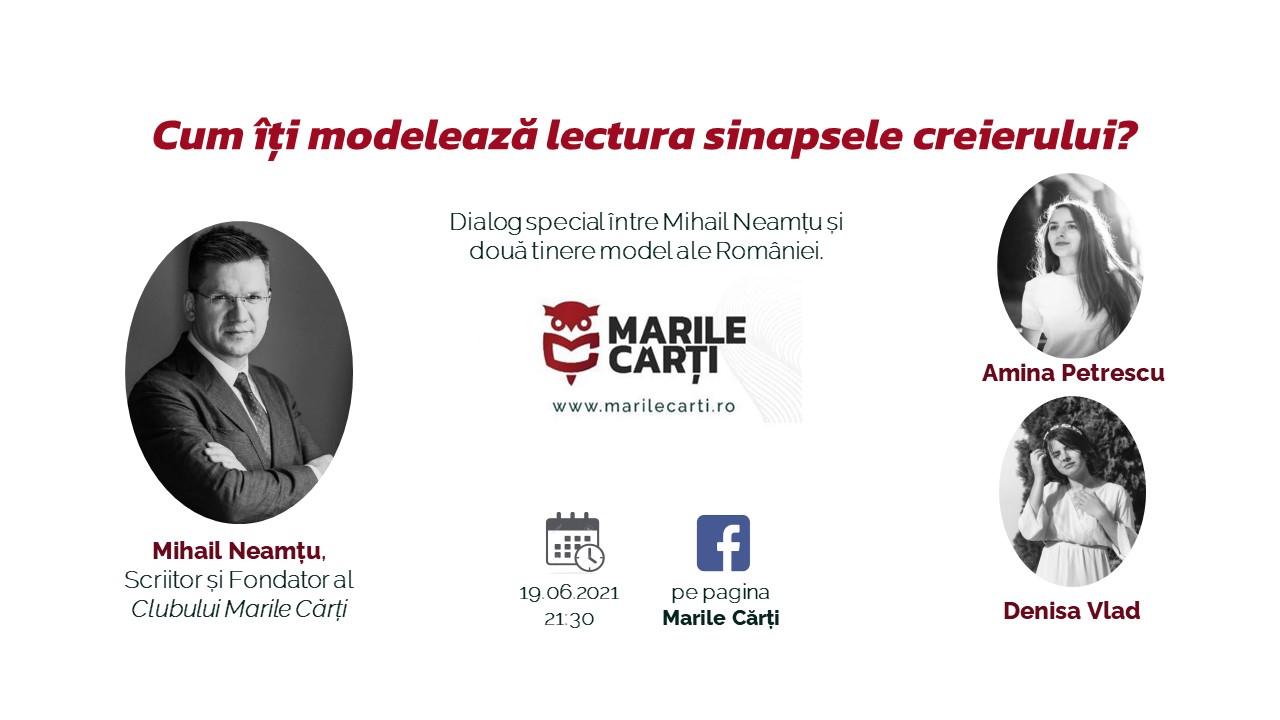Dialog la Marile Cărți: Cum îți modelează lectura sinapsele creierului? Scriitorul Mihai Neamțu discută cu două tinere model ale României: Amina Petrescu și Denisa Vlad