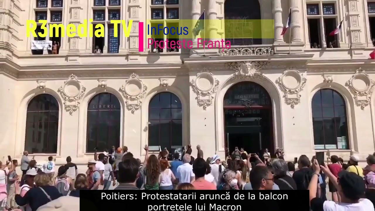 Franța   Protestatarii au pătruns într-o primărie și i-au aruncat portretele lui Macron pe fereastră. Scena seamănă cu ce s-a întâmplat în decembrie 89, cu portretele lui Ceaușescu