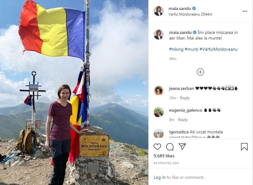 Maia Sandu a escaladat cel mai înalt vârf muntos din România, după câștigarea alegerilor