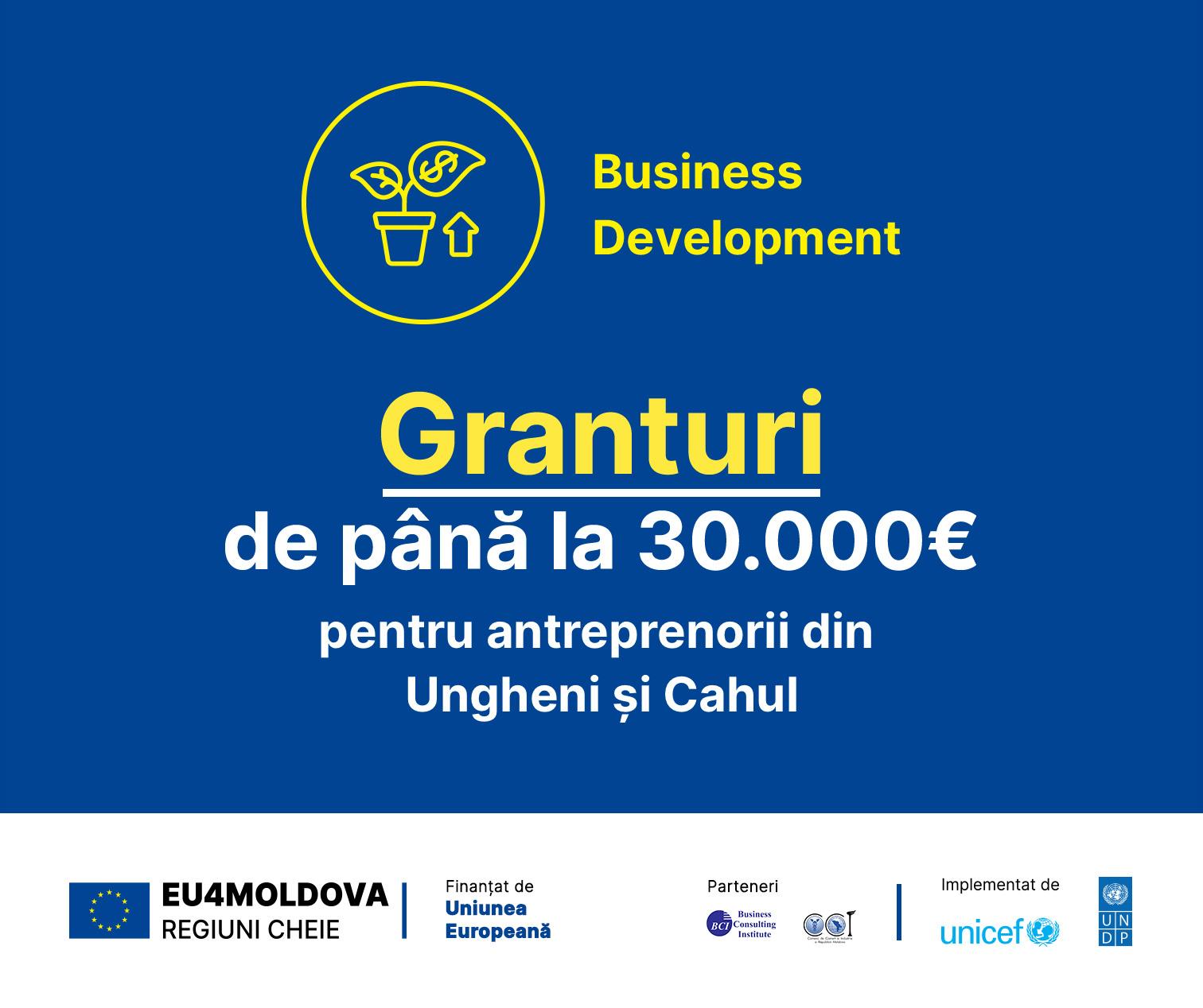 Uniunea Europeană oferă 770.000 EURO pentru dezvoltarea sectorului privat din regiunile cheie Cahul și Ungheni