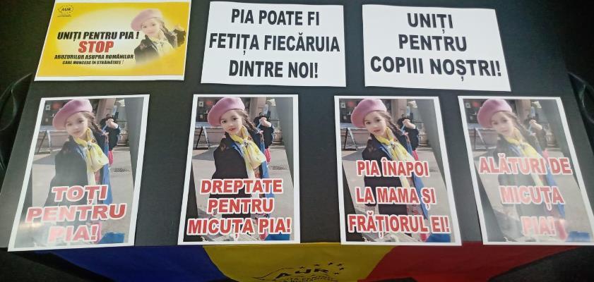 AUR mai sparge un tabu: protestează în fața Ambasadei Germaniei pentru micuța Pia, o copilă româncă luată cu forța de serviciile sociale din Freiburg